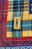 Huge 1970s Yves Saint Laurent Metallic Red & Yellow Fine Silk Wool Scarf