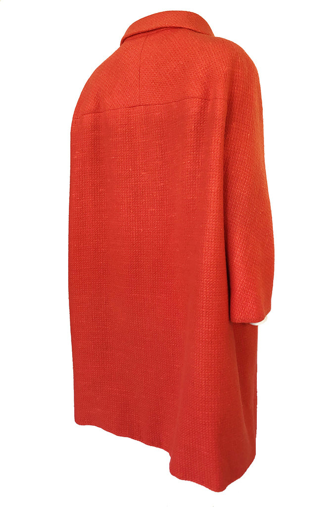 Late 1950s, Early 1960 Eisa by Cristóba Balenciaga Couture Orange Coat