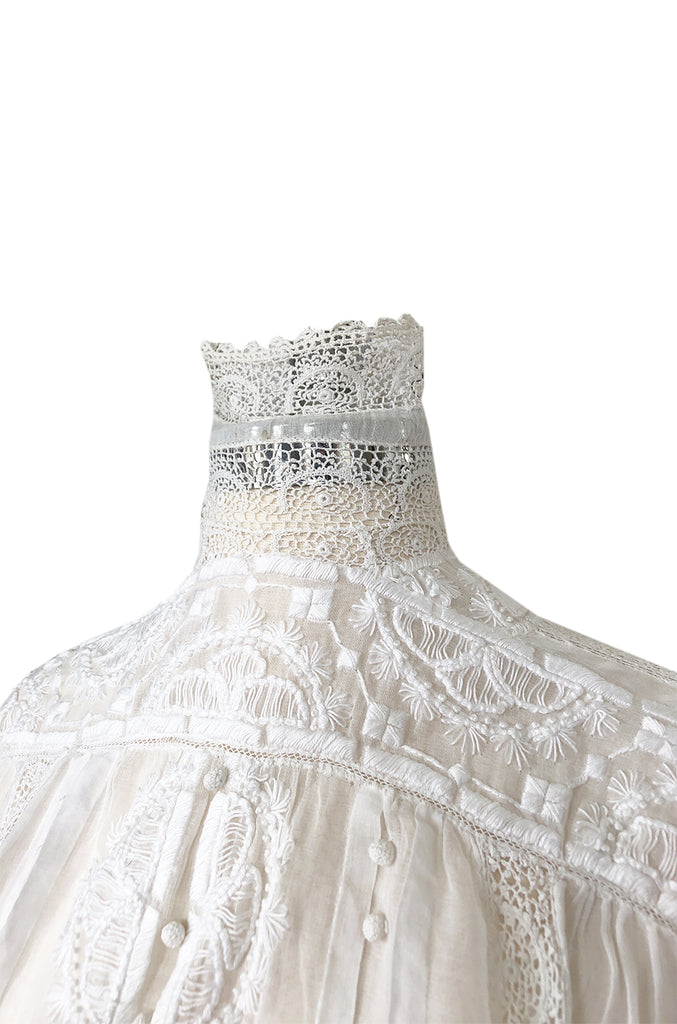 c1900s Antique Fine White Hand Made Linen, Lace & Embroidered Top