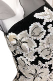 1950s I. Magnin Sequin & Bead Detailed Ivory Lace Applique Silk Dress
