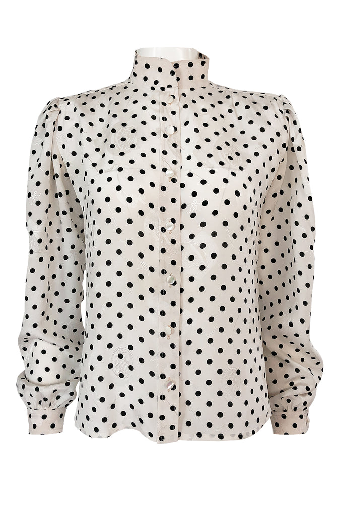 1980s Emanuel Ungaro Black and White Dot Printed Silk Top