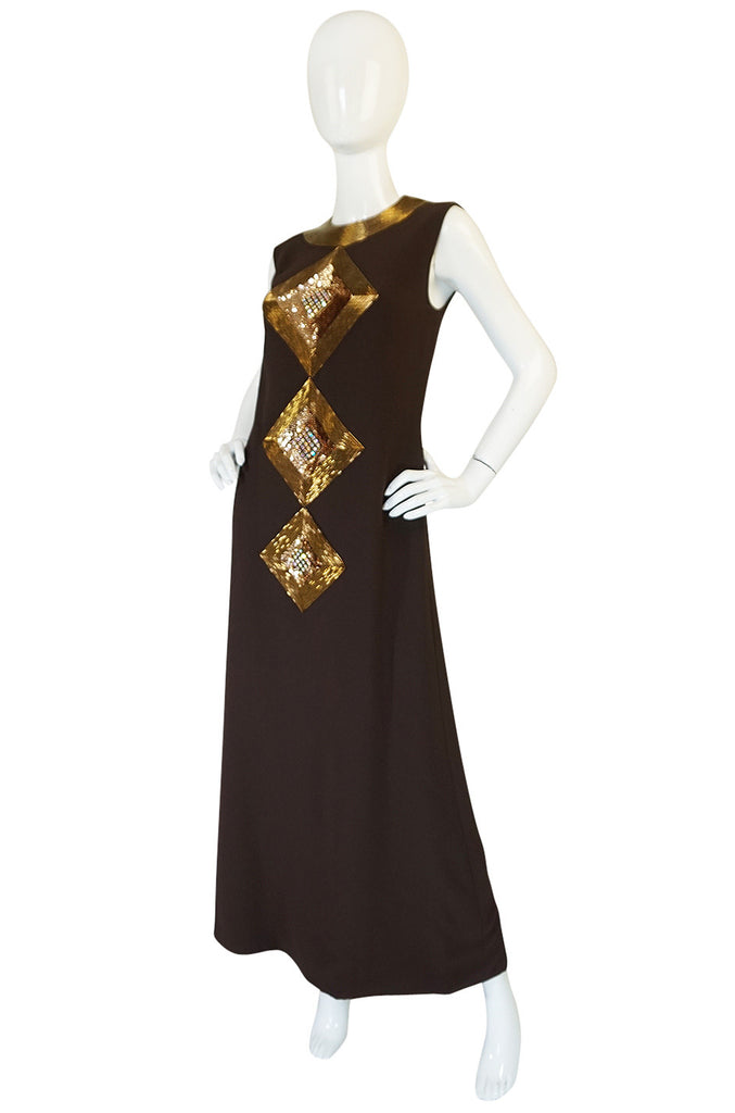 c1969 Possible Pierre Cardin Beaded Dress & Vest Set