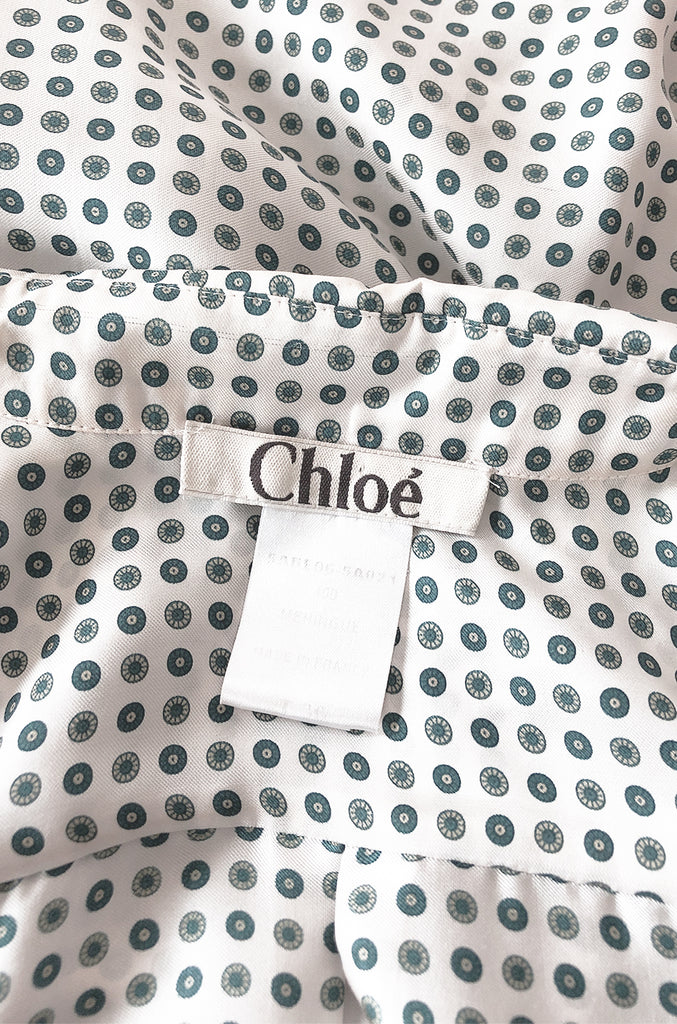 Early 2000s Chloe Printed Men's 'Tie' Silk Twill Button Down Top
