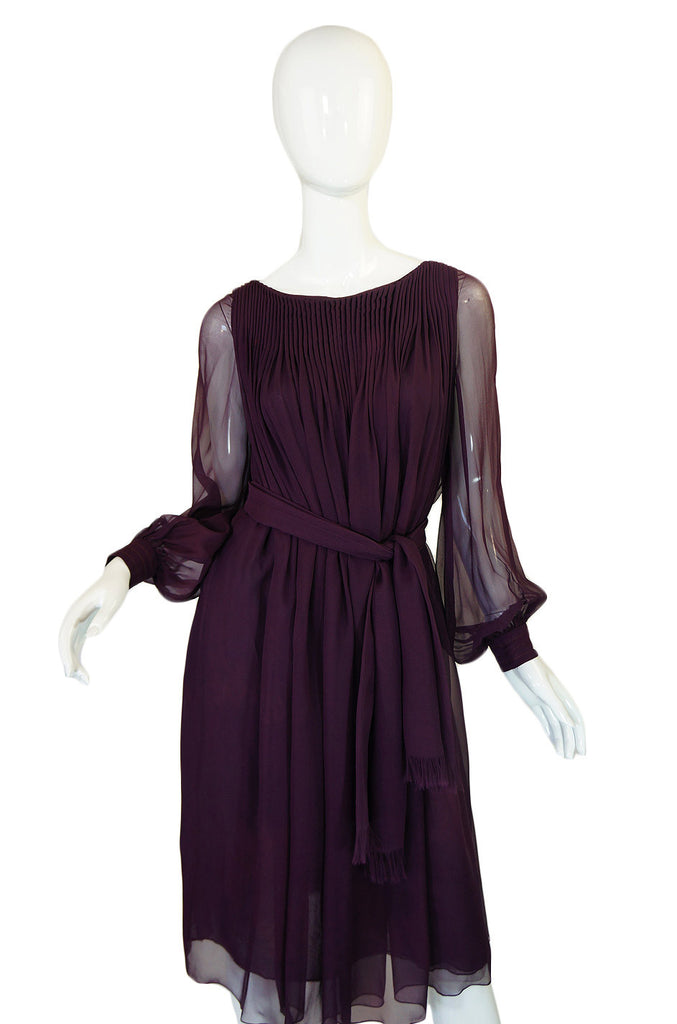 1960s Silk Chiffon Purple Galanos Dress
