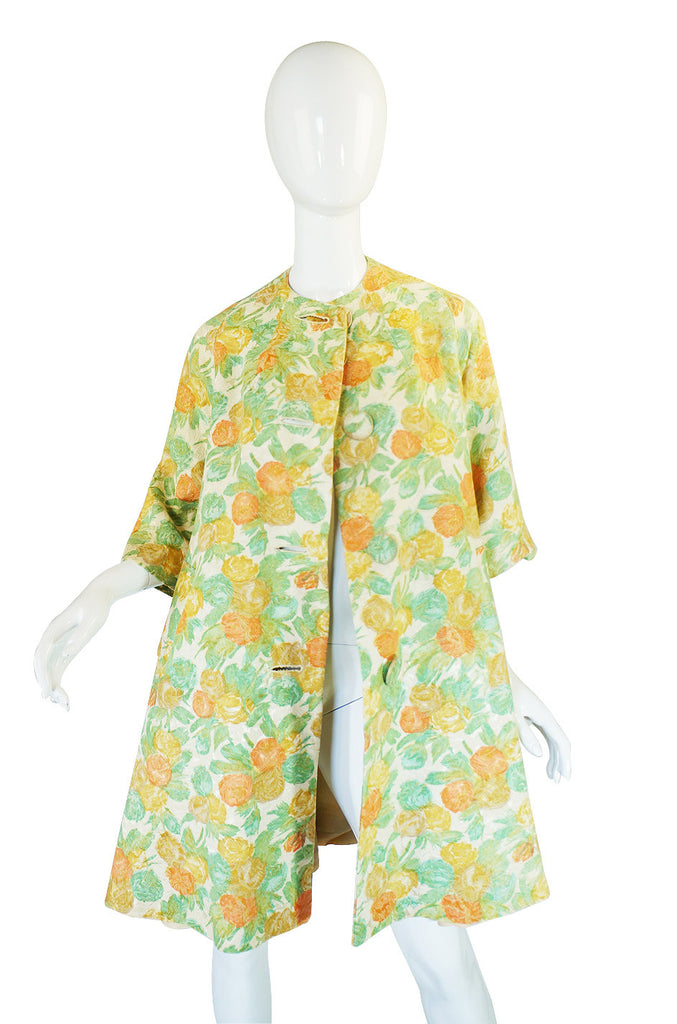 1960s Pastel Floral Brocade Swing Coat