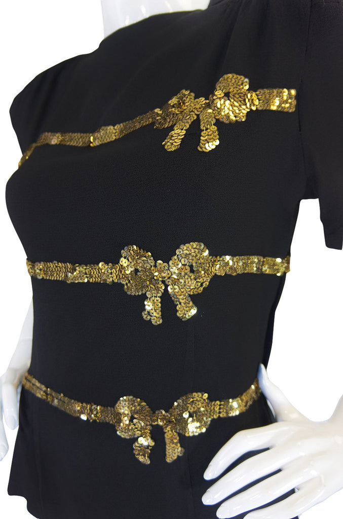 1940s Sequined Bows & Silk Crepe Top