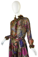 1970s Silk Louis Feraud Silk Metallic Set