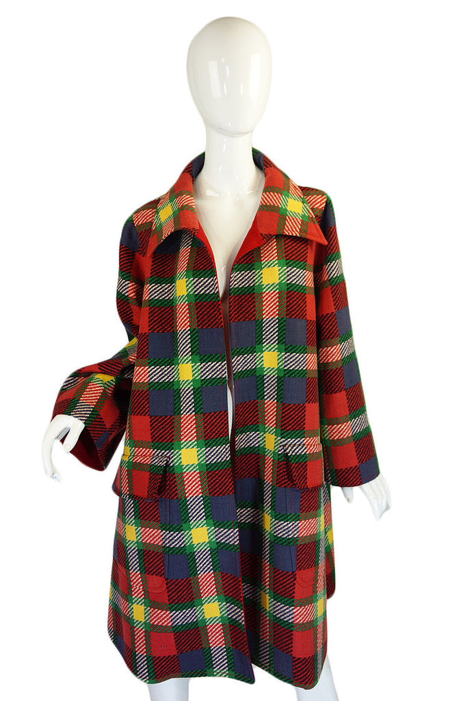 1970s Valentino Plaid Swing Coat