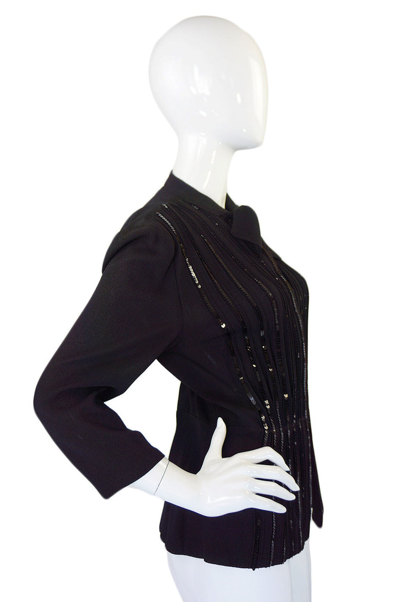 1940s Sequined Front Silk Crepe Top