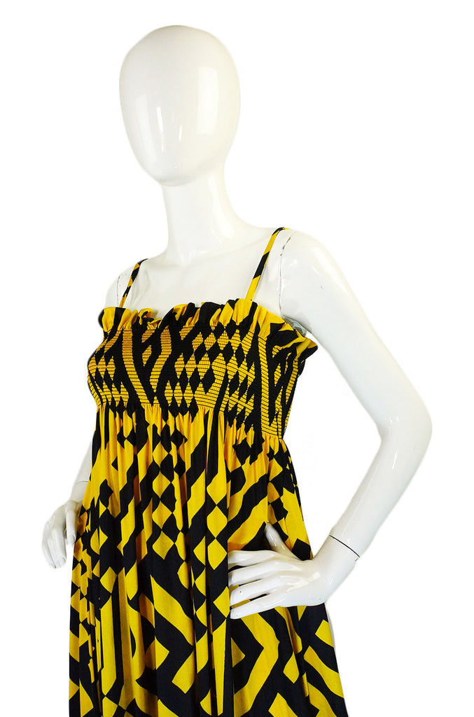 1960s Yellow & Black Jean Varon Maxi