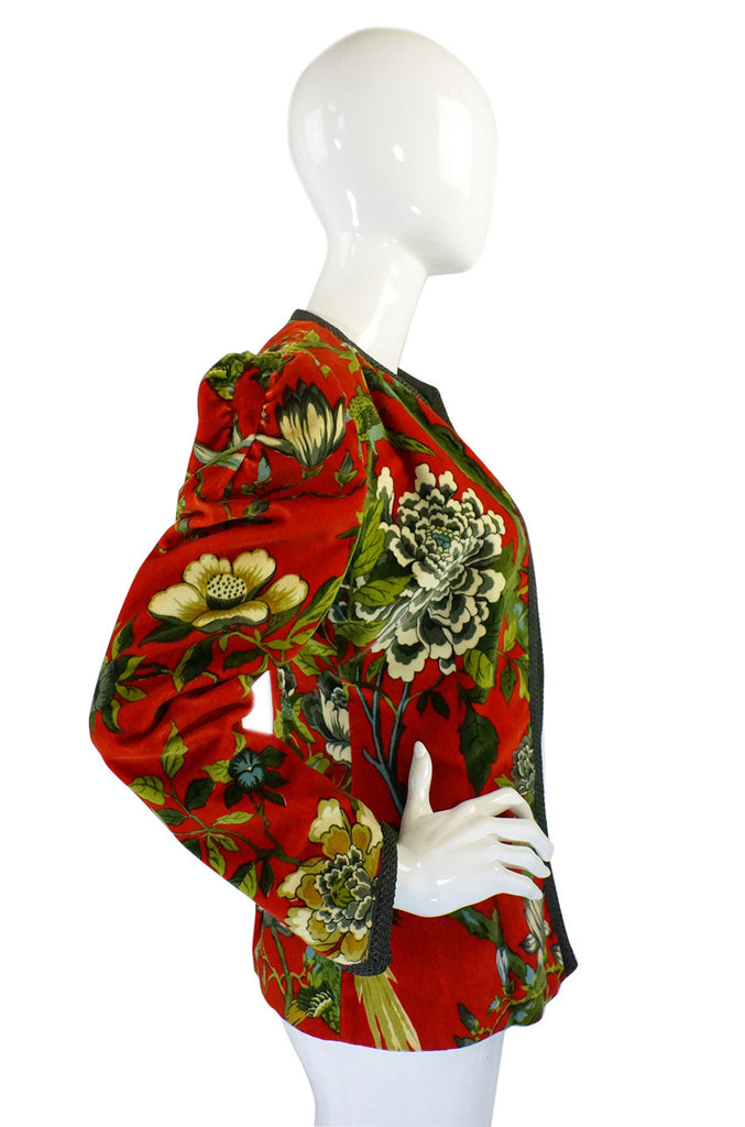 1970s Velvet Bird Print Silk Lined Jacket