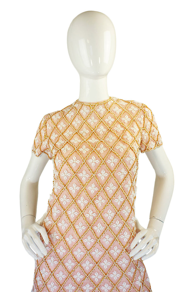 1960s Baby Pink Beaded Mod Shift Dress