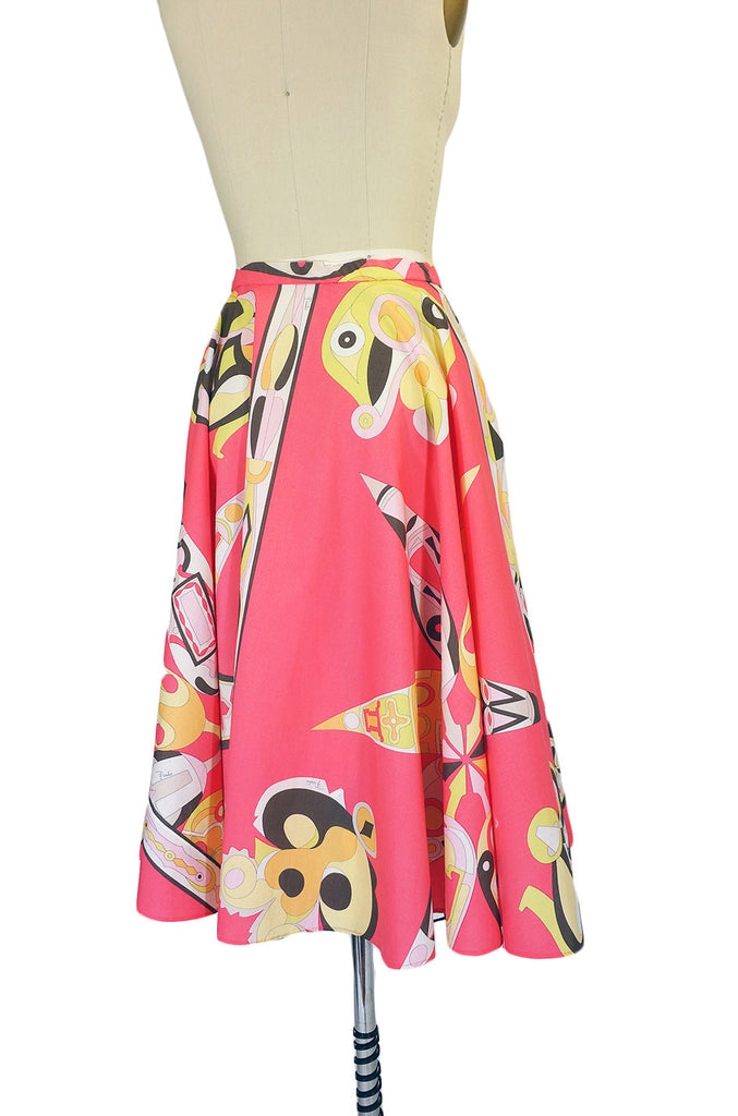 1990s Coral Cotton Pucci Circle Skirt