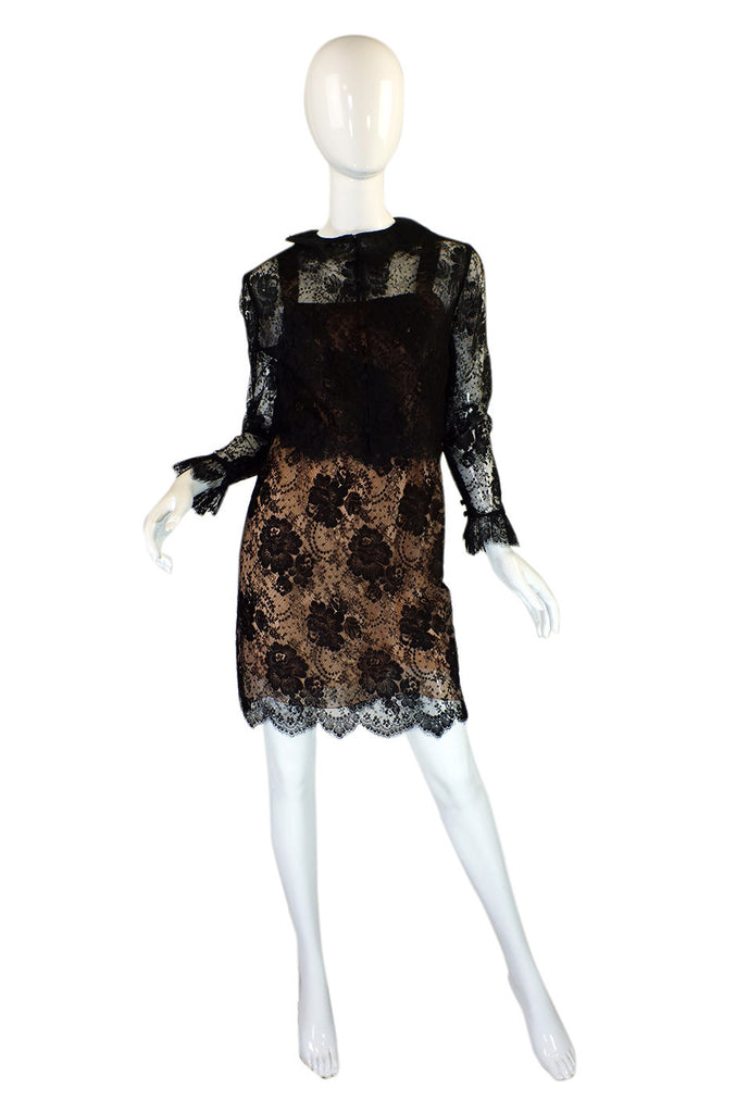 1980s Fine Lace Bill Blass Dress & Jacket