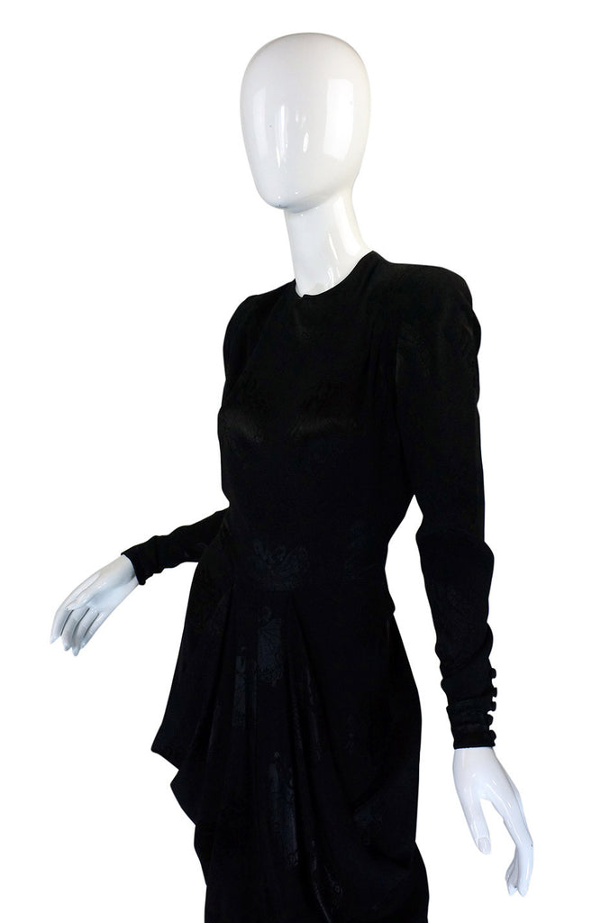 1940s Silk Draped Femme Fatale Dress
