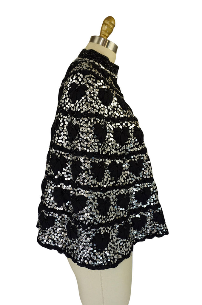 1960s Silver Sequin, Bead & Ribbon Cape