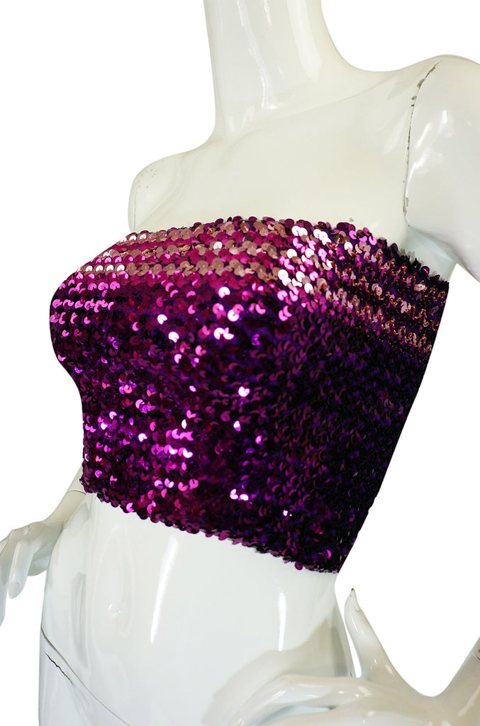 1970s Sequin Purple & Pink Tube Top