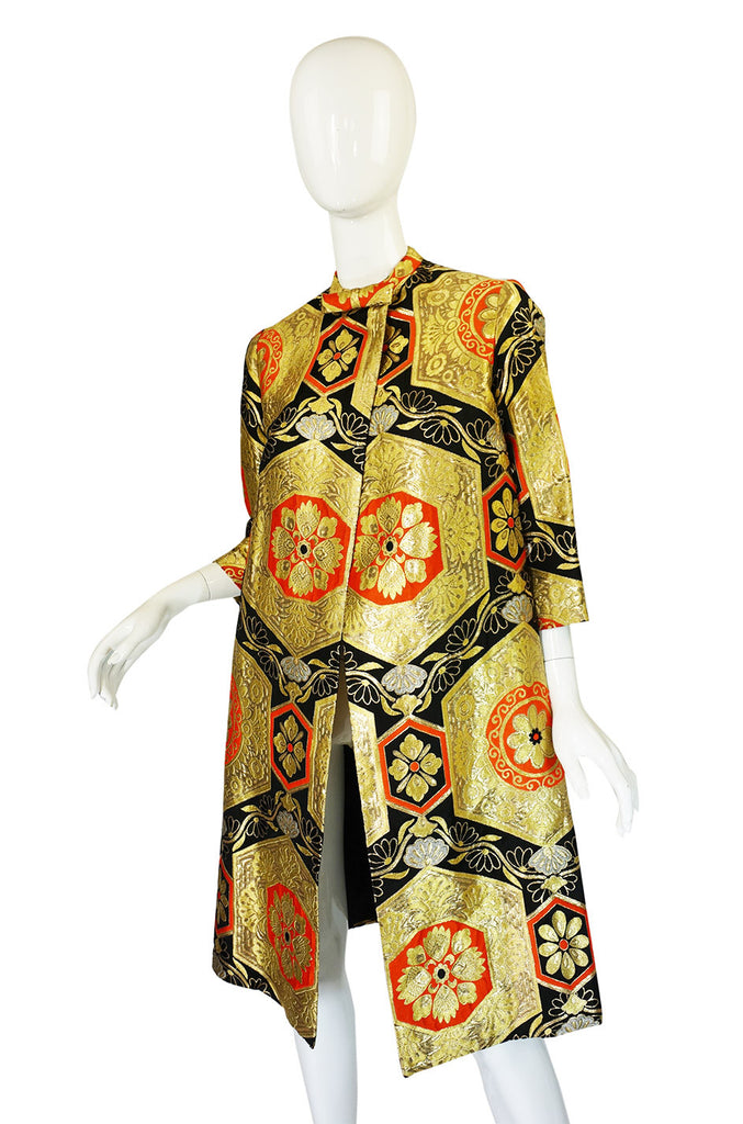 1950s Rich Metallic Silk Brocade Coat