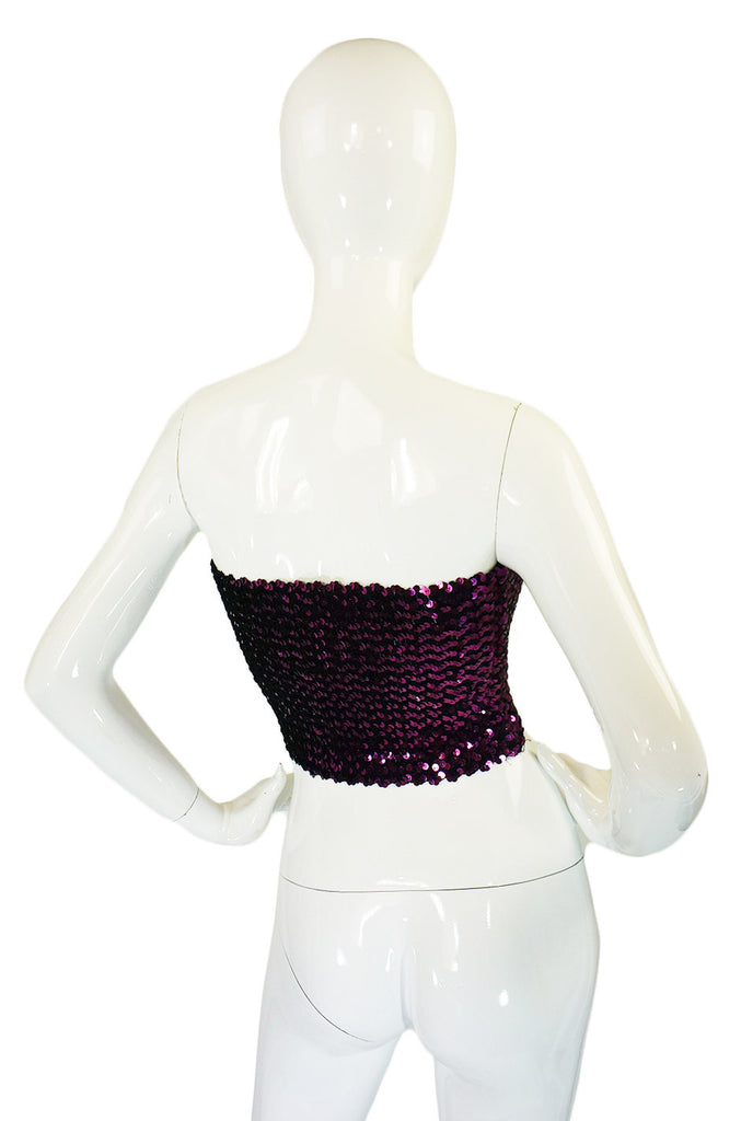 1970s Perfect Purple Sequin Top