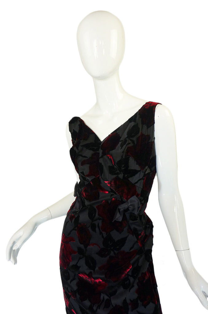 1960s Velvet Rose Silk Wiggle Dress