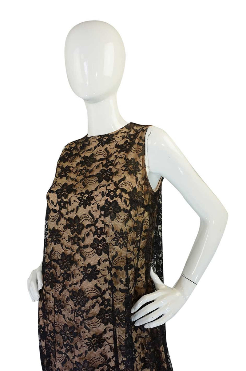 1960s Lanz Lace & Back Bow Maxi Dress