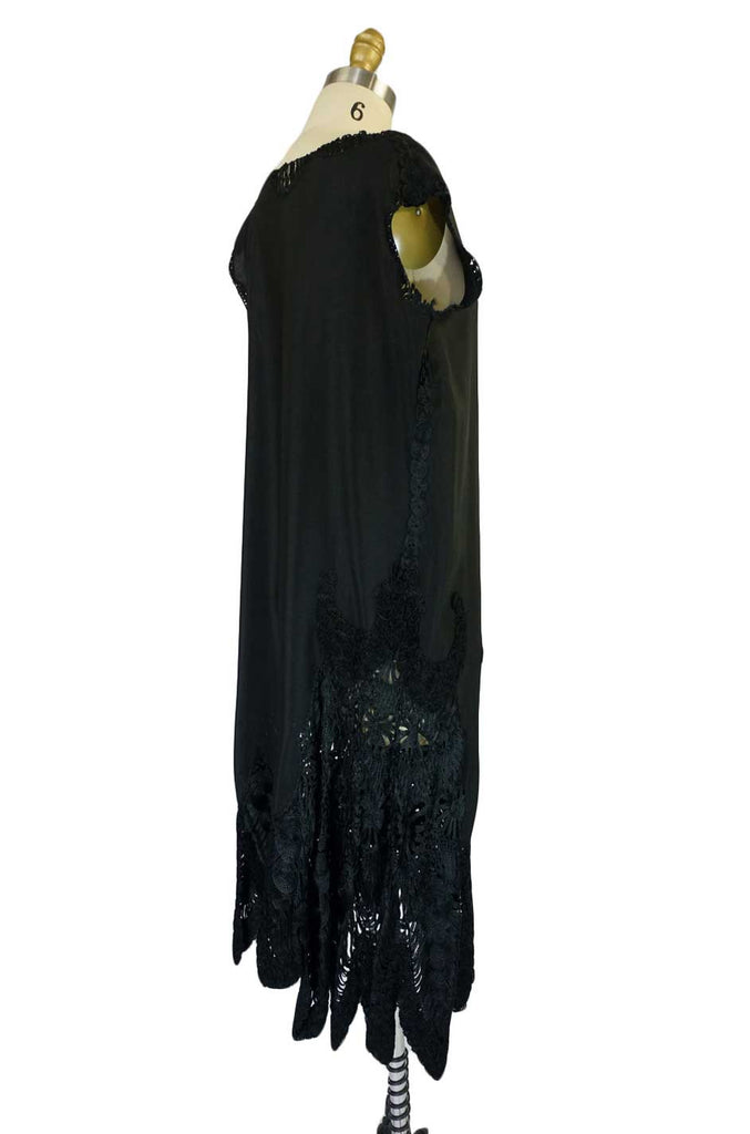 1920s Silk & Silk Rafia Hem Flapper Dress