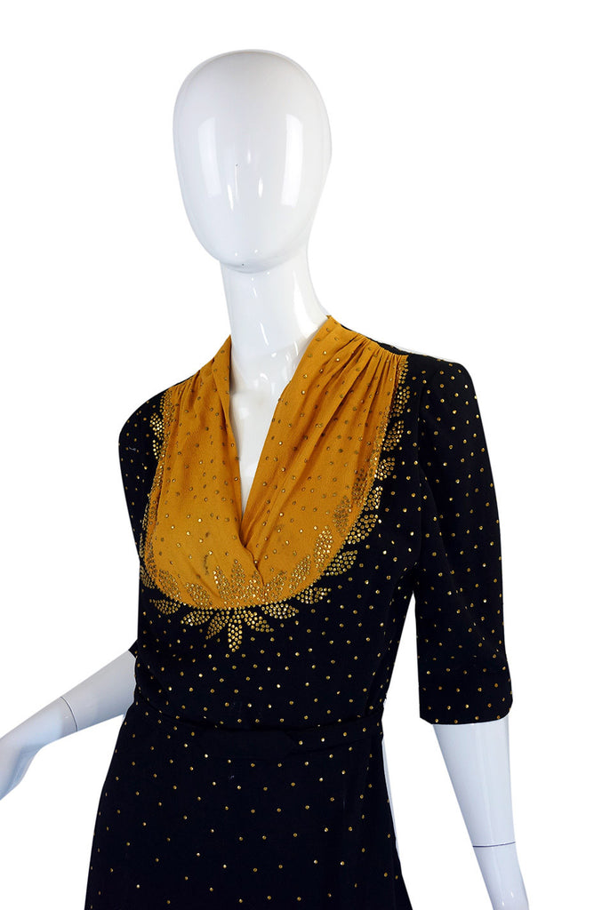1940s Rare Brass Studded Swing Dress