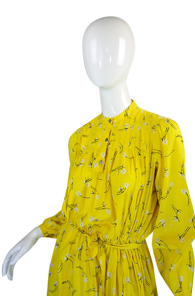 1970s Yellow Cotton Hanae Mori Dress