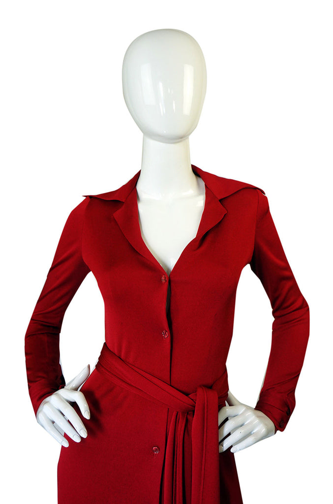 1972 Custom Red Jersey Halston Dress