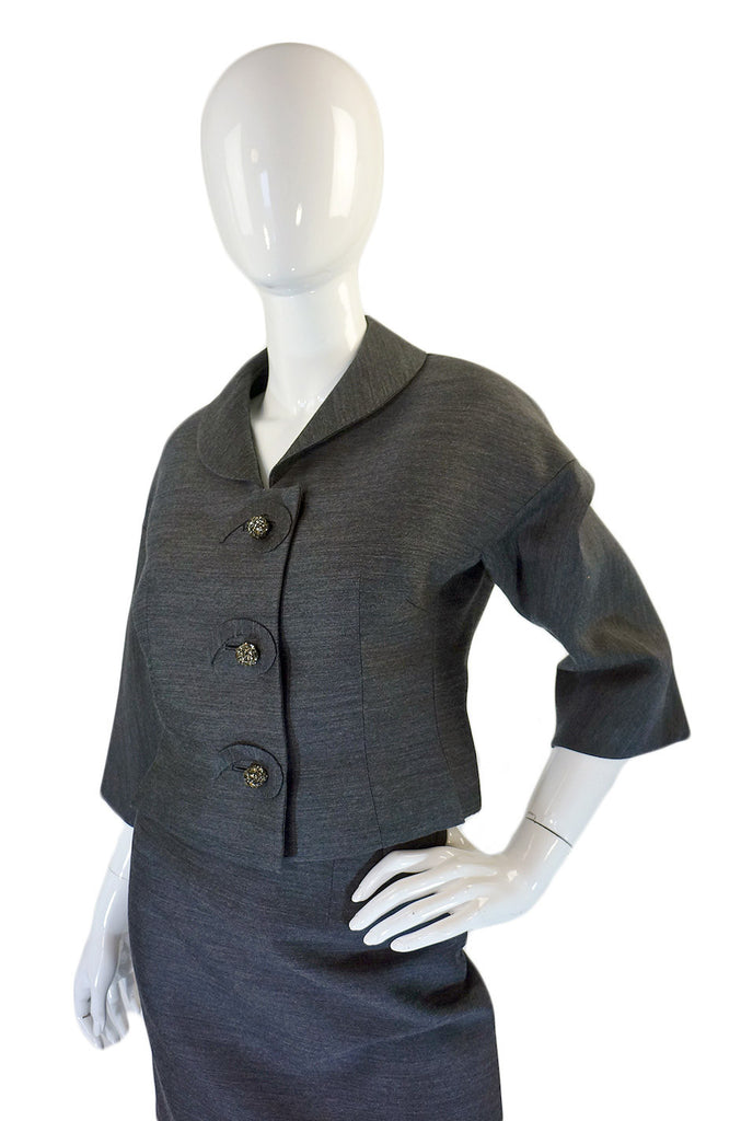 1950s Grey Silk & Rhinestone Button Suit