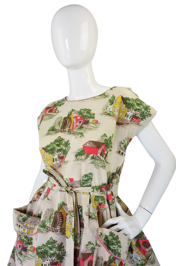 1950s Scenic Wrap Cotton Dress by Swirl