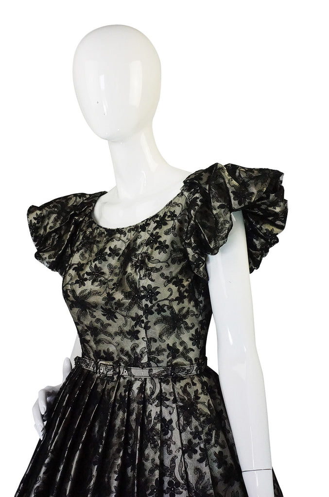 1950s Puff Sleeve Lace and Silk Cocktail Dress