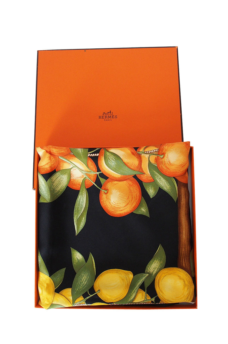 Citrus Hermes Silk Twill Scarf and Box