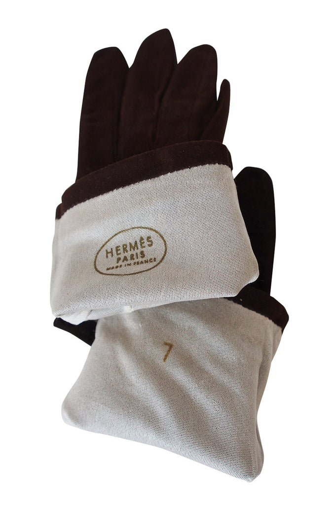 1950s Hermes Suede & Leather Gloves 7