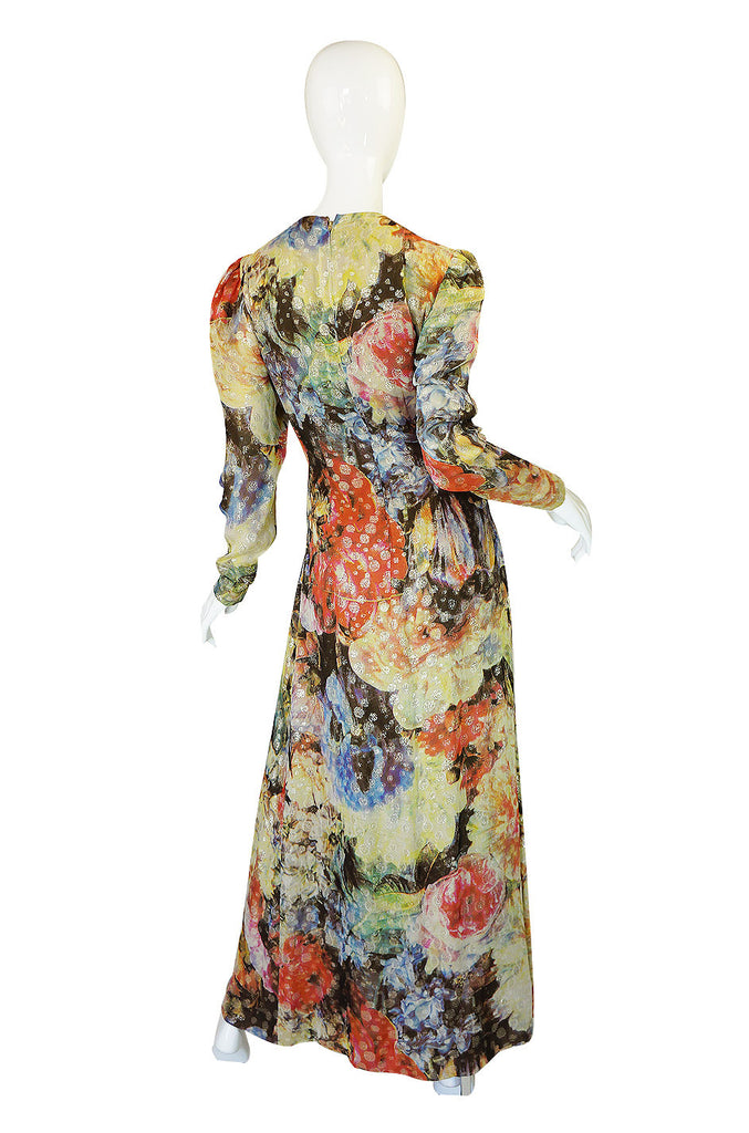 1970s Pauline Trigere Silk & Lame Gown