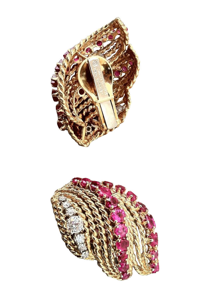 DAVID WEBB 1960s Ruby & Diamond Earrings