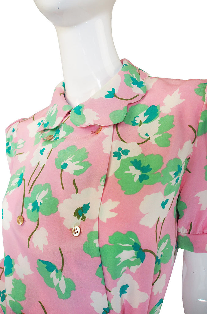 1970s Bill Blass Silk Pink & Green Set