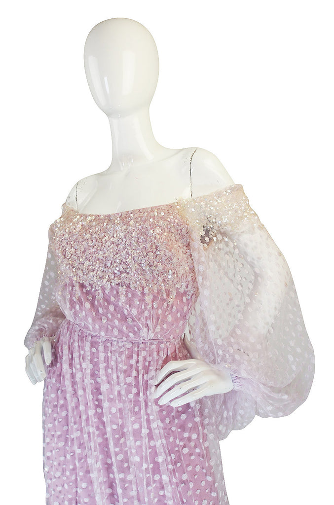 1960s Ethereal Alfred Bosand Sequin & Net Gown