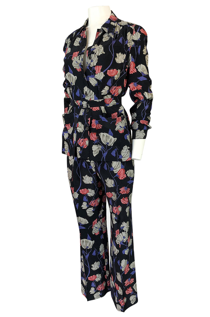 Resort 2008 Prada Runway Iconic Silk Floral Pant & Jacket Set