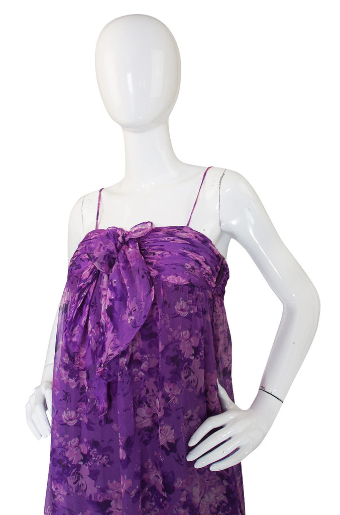 1977 Documented Givenchy Purple Silk Chiffon Gown
