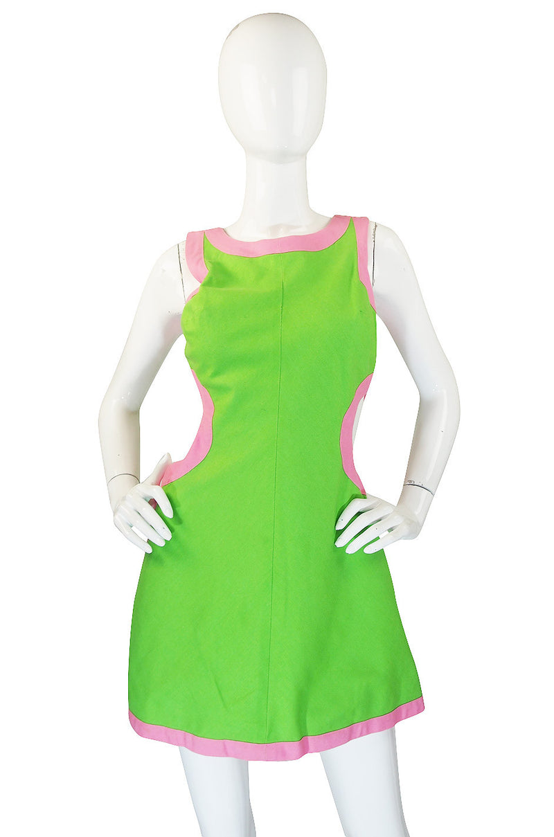 1960s Green & Pink Cut Out Mini Gogo Dress
