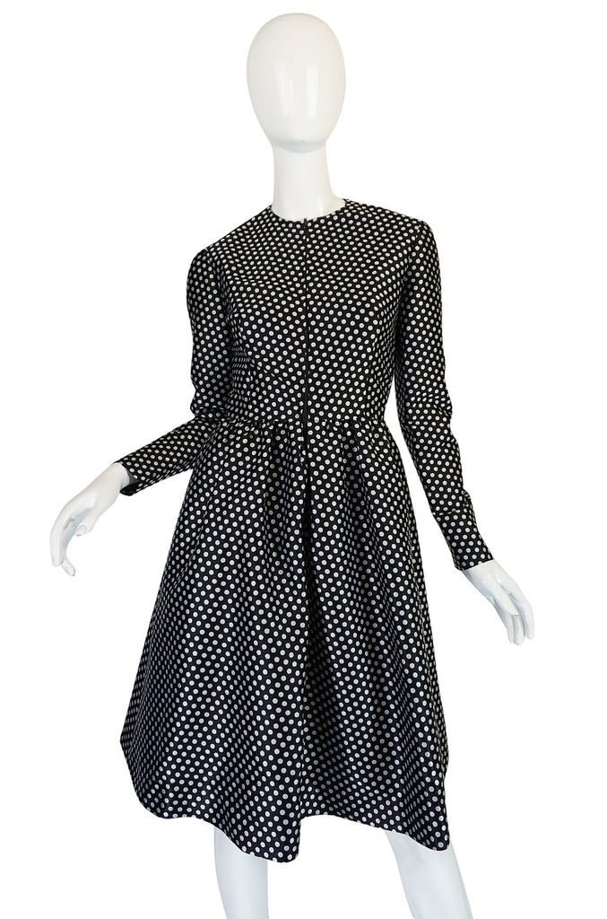 c1972 Geoffrey Beene Silk Black & White Dot Dress