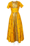 1953 Traina-Norell Metallic Gold Thread Hand Embroidered Couture Dress