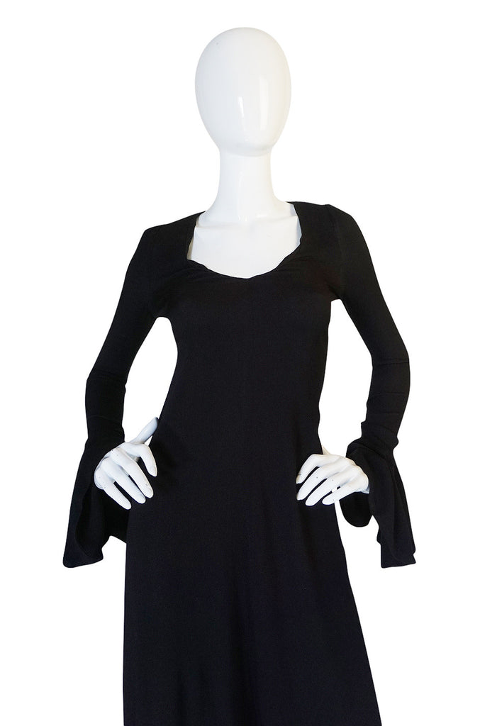 1970s Biba Ruffled Cuffs Black Moss Crepe Dress