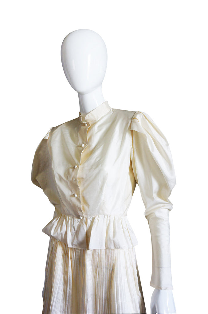 Early 1980s Fine Pleat Silk Vicky Tiel Suit