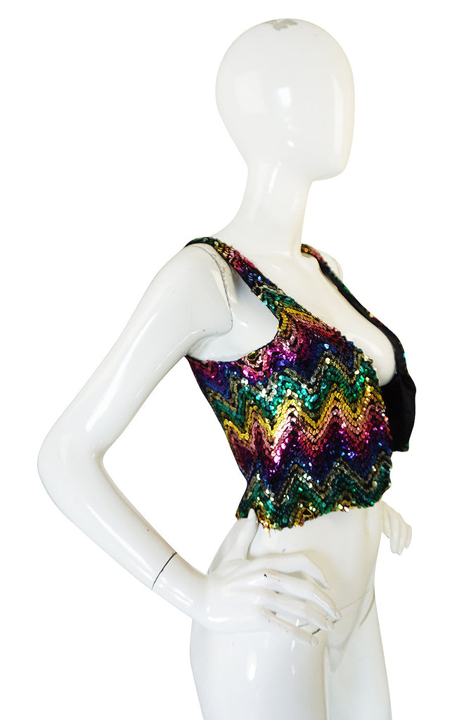 c1973 Biba Rare Rainbow Sequin Vest Top