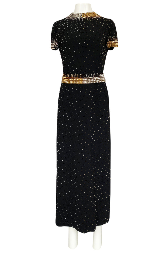 1971-73 Donald Brooks Brass and Silver Stud & Bead Black Crepe Dress
