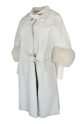 1950s White Leather Tent Coat With Whip Stitch & Fur Cuffs