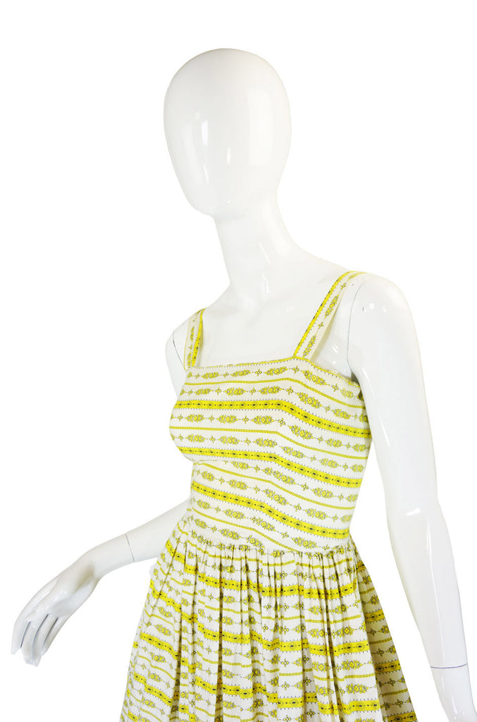Pretty 1950s Yellow Printed Crisp Cotton Sun Dress