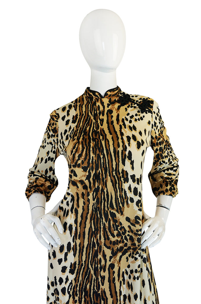 1960s Leopard Print Nylon Dress With Frog Knot Detail